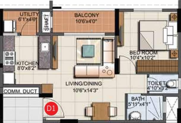 Sumadhura Eden Garden (1BHK+1T (670 sq ft) Apartment 670 sq ft)