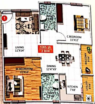 Star Sree Sai Heritage (2BHK+2T (1,065 sq ft) Apartment 1065 sq ft)