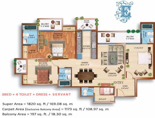 Maxblis White House III (3BHK+3T (1,820 sq ft) + Servant Room Apartment 1820 sq ft)