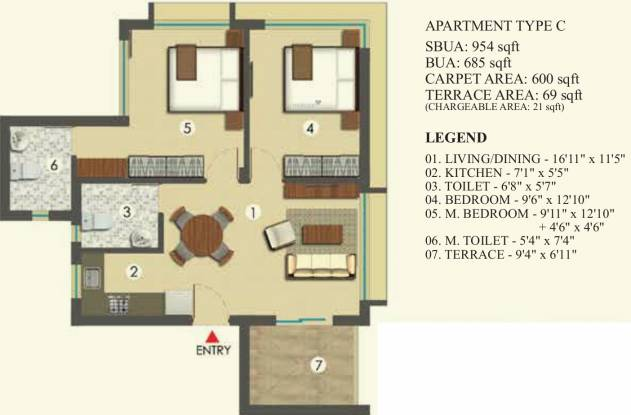 Hiland Bonochhaya Apartment (2BHK+2T (954 sq ft) Apartment 954 sq ft)