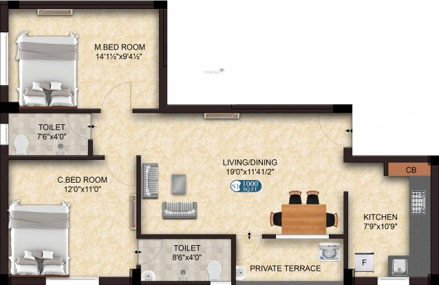 The Nest Elite (2BHK+2T (1,000 sq ft) Apartment 1000 sq ft)