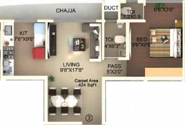Laxmi Callista (1BHK+2T (423.99 sq ft) Apartment 423.99 sq ft)
