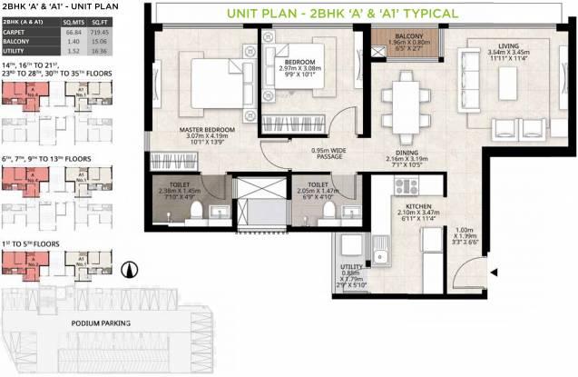 Mahindra Roots (2BHK+2T (719.46 sq ft) Apartment 719.46 sq ft)