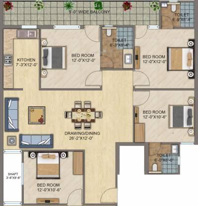 Ompee Crest 2 (3BHK+3T (1,400 sq ft) Apartment 1400 sq ft)