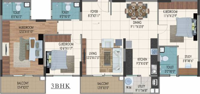 Sumadhura Nandanam (3BHK+3T (1,866 sq ft) Apartment 1866 sq ft)