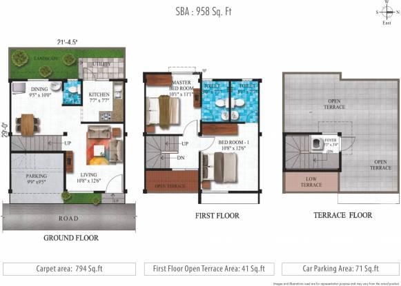 Alliance Humming Gardens Villas Phase 2 (2BHK+3T (958 sq ft) Villa 958 sq ft)