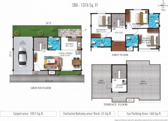 Alliance Humming Gardens Villas Phase 2 (3BHK+4T (1,376 sq ft) Villa 1376 sq ft)