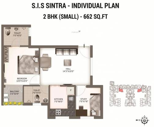 South India Sintra (2BHK+2T (662 sq ft) Apartment 662 sq ft)