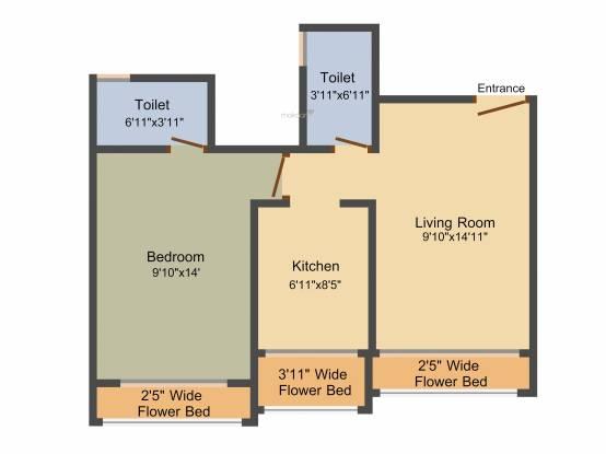 Innovative Orchid Metropolis (1BHK+1T (418.82 sq ft) Apartment 418.82 sq ft)