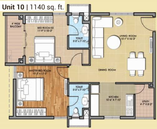 HSR Sri Ramachandra Manor (2BHK+2T (1,140 sq ft) Apartment 1140 sq ft)
