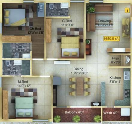 Raam Enclave (3BHK+3T (1,650 sq ft) Apartment 1650 sq ft)