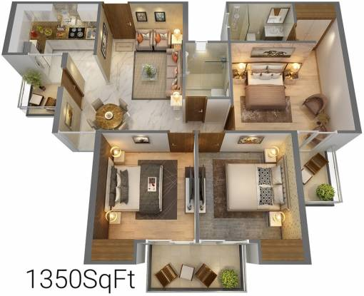 T and T T Homes (3BHK+3T (1,350 sq ft) Apartment 1350 sq ft)