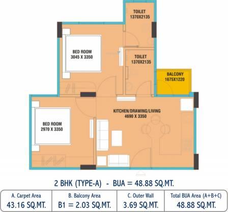 Uday Udayraj (2BHK+2T (464.57 sq ft) Apartment 464.57 sq ft)