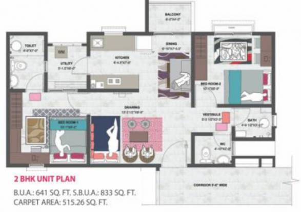 Mahima Shubh Nilay (2BHK+2T (515.27 sq ft) Apartment 515.27 sq ft)