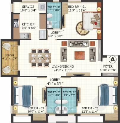 LML Eterna (3BHK+3T (1,455 sq ft) Apartment 1455 sq ft)