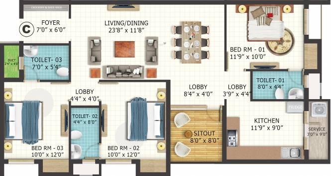 LML Eterna (3BHK+3T (1,530 sq ft) Apartment 1530 sq ft)
