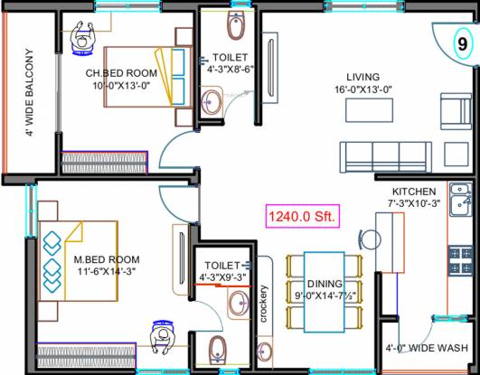 Fortune Green Golden Oriole (2BHK+2T (1,240 sq ft) Apartment 1240 sq ft)