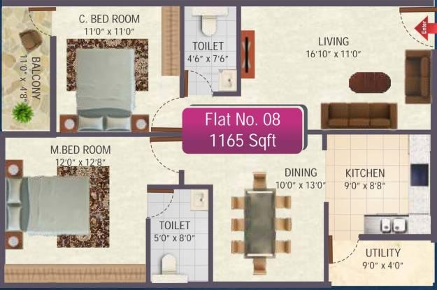 SR Sai Ram Residency (2BHK+2T (1,165 sq ft) Apartment 1165 sq ft)