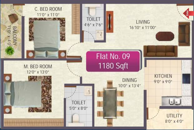 SR Sai Ram Residency (2BHK+2T (1,180 sq ft) Apartment 1180 sq ft)