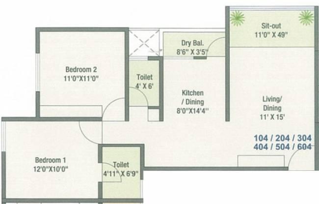 Trinity Green Hive 65 (2BHK+2T (649 sq ft) Apartment 649 sq ft)
