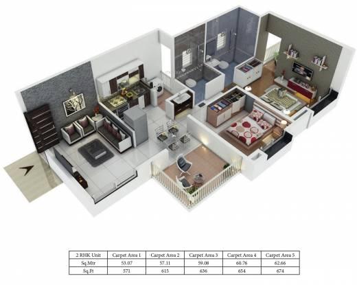 Aswani Galaxy (2BHK+2T (571.24 sq ft) Apartment 571.24 sq ft)