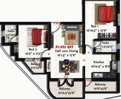 Sivarams Meghna (2BHK+2T (991 sq ft) Apartment 991 sq ft)