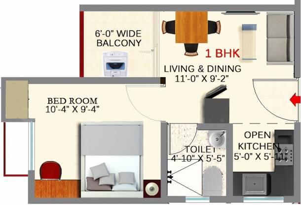 Gems City (1BHK+1T (403.00 sq ft) Apartment 403 sq ft)