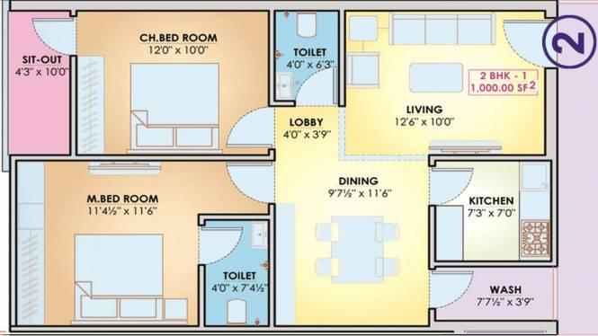 K K Enclave (2BHK+2T (1,000 sq ft) Apartment 1000 sq ft)