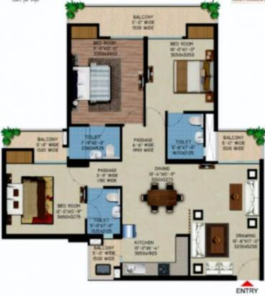 Supertech Capeluxe (3BHK+3T (1,595 sq ft) Apartment 1595 sq ft)