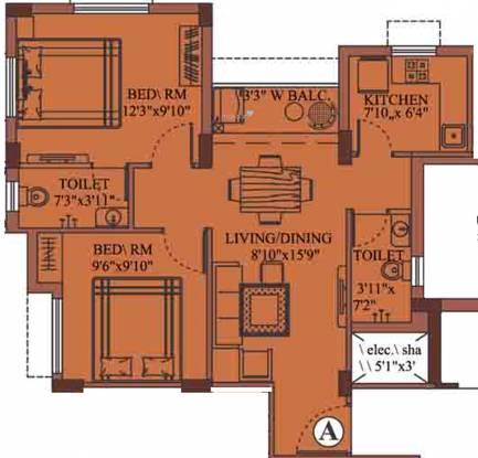 Eden Richmond Enclave (2BHK+2T (851 sq ft) Apartment 851 sq ft)