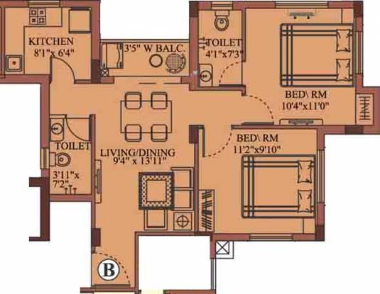 Eden Richmond Enclave Phase 2 (2BHK+2T (858 sq ft) Apartment 858 sq ft)