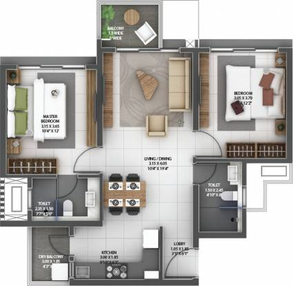 Amanora Gold Towers 44 45 And 46 (2BHK+2T (592.02 sq ft) Apartment 592.02 sq ft)