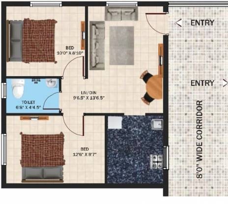 SSPDL Cybercity Apartments (2BHK+1T (653 sq ft) Apartment 653 sq ft)