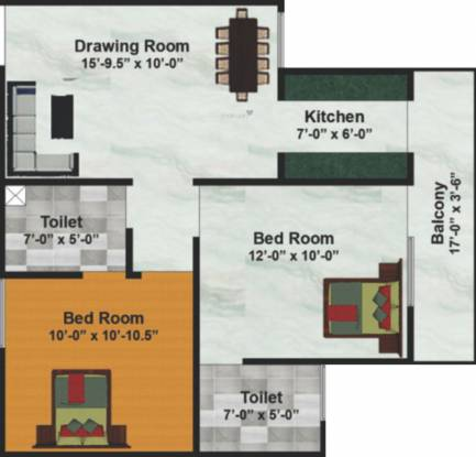 ML 73 Avenue (2BHK+2T (940 sq ft) Apartment 940 sq ft)