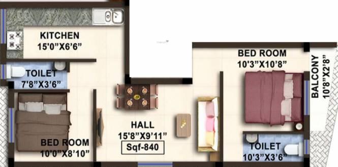 Avittam Nandanar (2BHK+2T (840 sq ft) Apartment 840 sq ft)