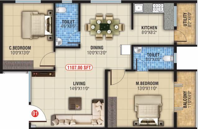Akshaj Spring Leaf (2BHK+2T (1,107 sq ft) Apartment 1107 sq ft)