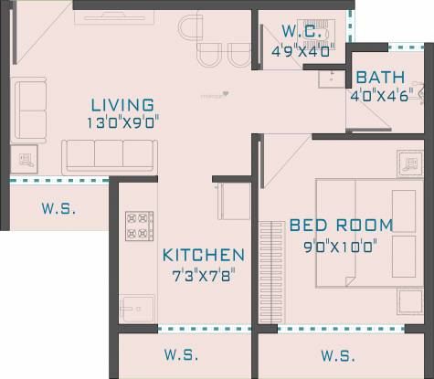 Space Gold Crest (1BHK+1T (397 sq ft) Apartment 397 sq ft)