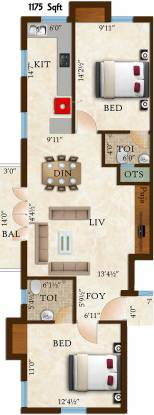 Rams Lalithaveni (2BHK+2T (1,175 sq ft) Apartment 1175 sq ft)