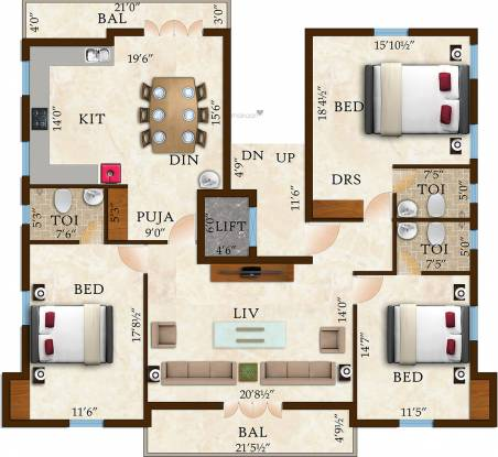 Rams White House (3BHK+3T (2,400 sq ft) Apartment 2400 sq ft)