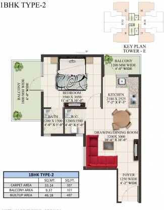 Supertech The Valley (1BHK+1T (497.08 sq ft) Apartment 497.08 sq ft)