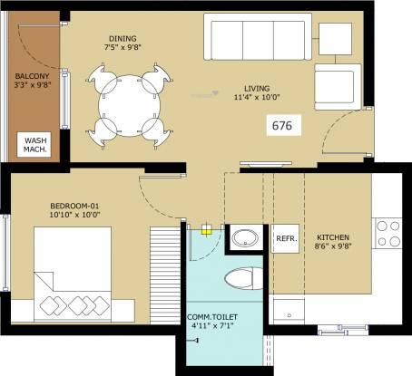 TVS Emerald Flourish Apartment (1BHK+1T (676 sq ft) Apartment 676 sq ft)