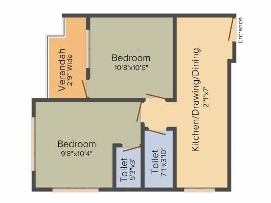 Artisan Residency (2BHK+2T (660 sq ft) Apartment 660 sq ft)