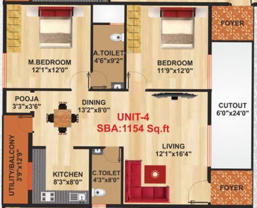 Shinduja Sri Sai Shinduja Residency (2BHK+2T (1,154 sq ft) Apartment 1154 sq ft)