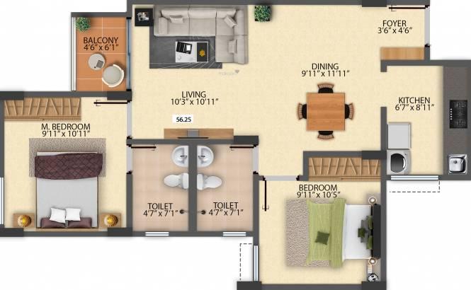 Pride Sunrise (2BHK+2T (796 sq ft) Apartment 796 sq ft)
