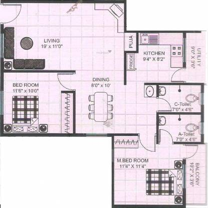 Ree Rajarajeshware Krishna Dhama (2BHK+2T (1,125 sq ft) + Pooja Room Apartment 1125 sq ft)