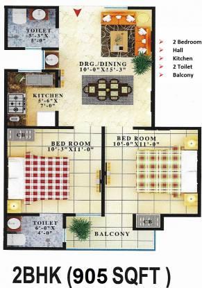 Creators Gayatri Vatika (2BHK+2T (905 sq ft) Apartment 905 sq ft)