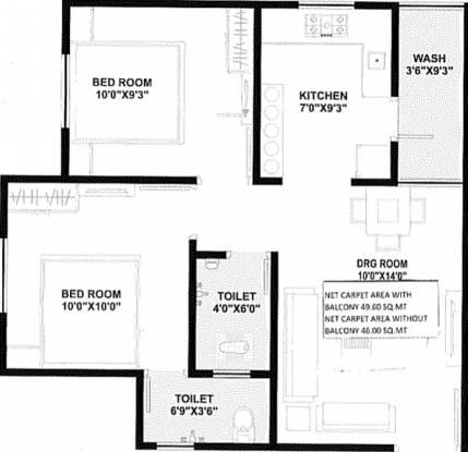 Ramani Sarita Residency 3 (2BHK+2T (495.14 sq ft) Apartment 495.14 sq ft)