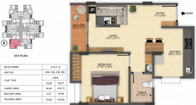 Pride Sunrise (1BHK+1T (570 sq ft) Apartment 570 sq ft)