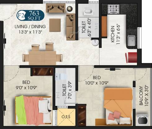 DAC Umayal (2BHK+2T (763 sq ft) Apartment 763 sq ft)