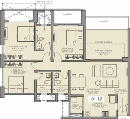 Godrej Rejuve (3BHK+3T (873.17 sq ft) Apartment 873.17 sq ft)